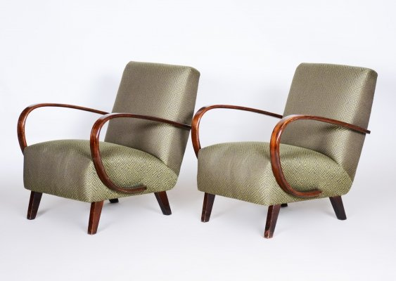 Pair of Green Czech Art Deco Beech Armchairs by Jindrich Halabala for UP Zavody, 1930s