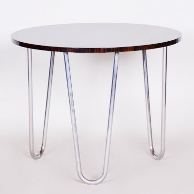20th Century Rounded Macassar & Chrome-Plated Steel Bauhaus Table, 1930s