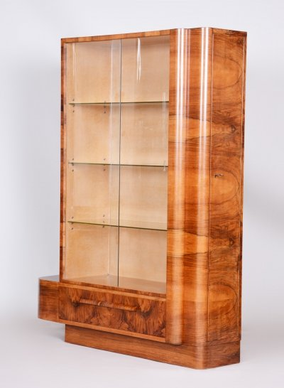Art Deco Walnut Bookcase by Jindrich Halabala, Czechia 1930s