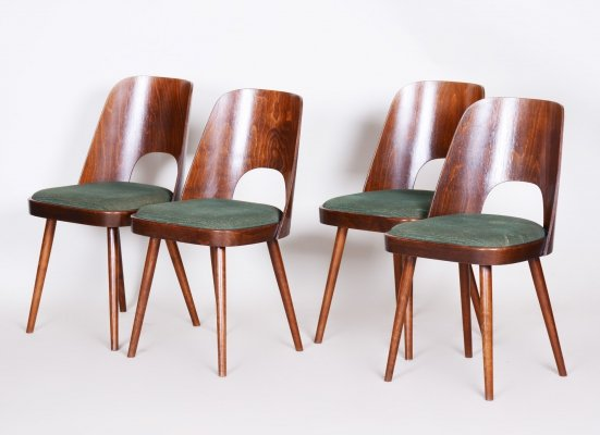 Set of 4 Czech Brown & Green Beech Chairs by Oswald Haerdtl for TON, 1950s