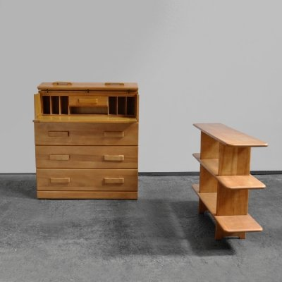 Rare solid birch secretaire & shelving unit by Snijders, the Netherlands 1950s