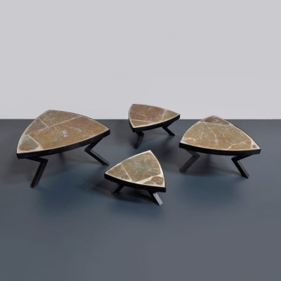 Set of 4 small 1960s flagstone side tables