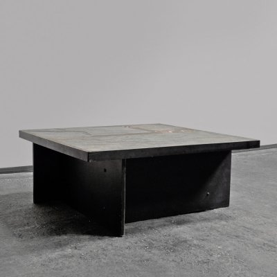 1970s coffee table with a decorative stone top
