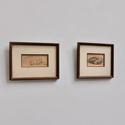 2 small pencil drawings by W. Halewijn, signed 1949