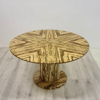 Round marble dining table with bookmatched marble top, Italy 1970s