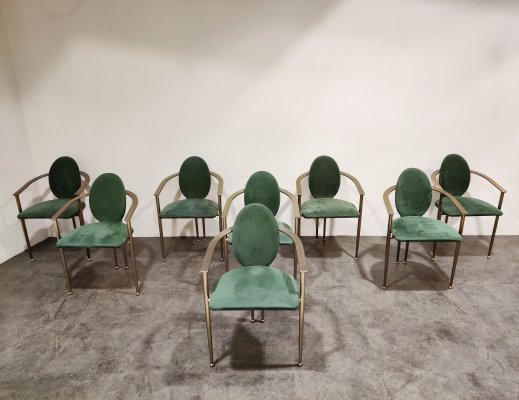 Set of 8 Vintage dining chairs by Belgo chrom, 1980s
