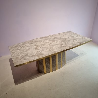 Marble & Brass Dining Table with Marble Inlay Surface