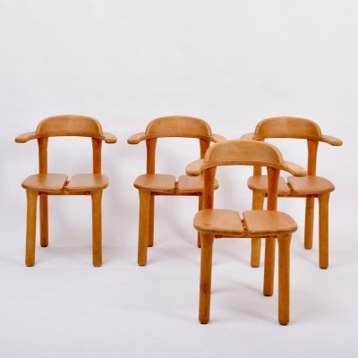 Set of four rustic Scandinavian Mid-Century Modern dining chairs