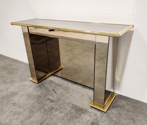 Brass mirrored console table, 1970s