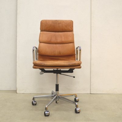 Vintage Cognac EA219 Office Chair by Charles Eames for Vitra, 1970s