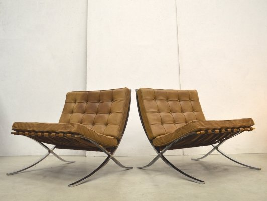 Pair of Early Cognac Barcelona Chairs by Mies van der Rohe for Knoll, 1960s