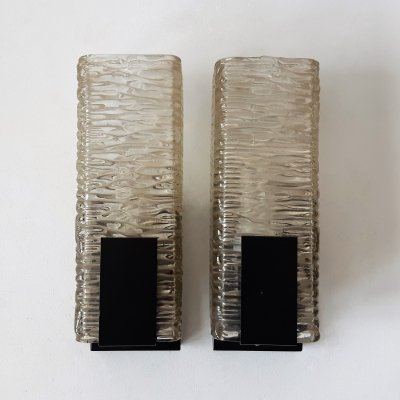 Set of 2 vintage glass & metal wall lamps by Philips