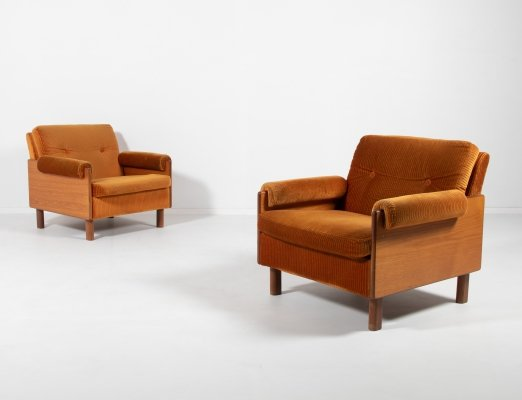 1960's velvet lounge armchairs by Asko, Finland