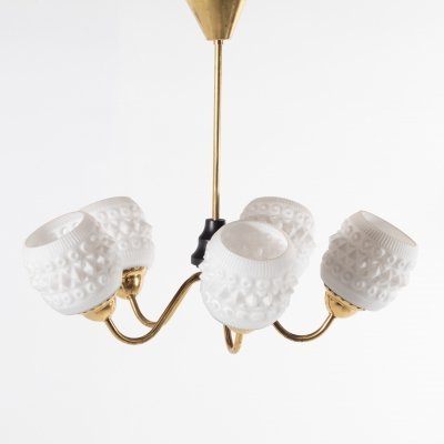White crystal shades brass ceiling lamp, Sweden 1950's