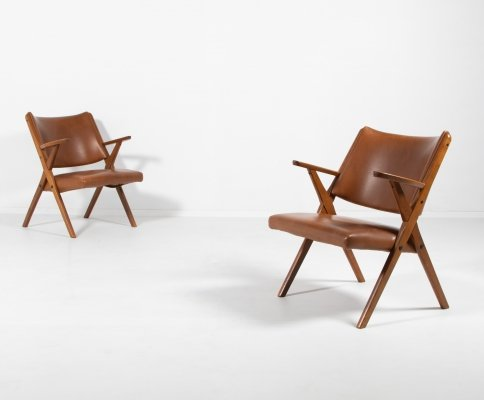 Architectural Mid Century armchairs by Dal Vera, Italy 1950's