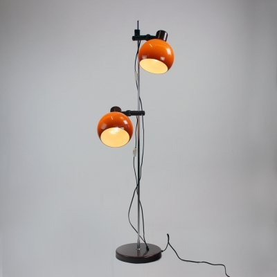 Free Standing Floor Lamp With Two Orange Shields, Czechoslovakia 1960s