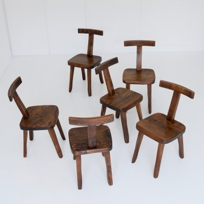 Set of 6 Brutalistic dining chairs, 1960s