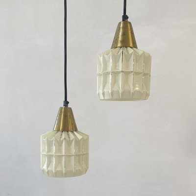 Set of 2 Danish hanging lamps glass & brass, 1960s