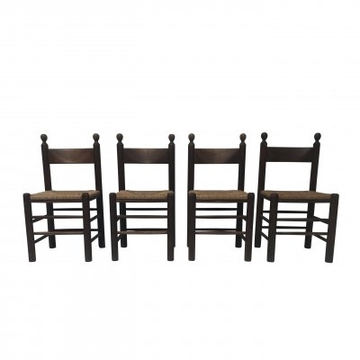 Set of 4 Rustic oak & wicker brutalist dining chairs, France 1960s