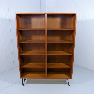 Teak bookcase with hairpin legs, Denmark 1960's