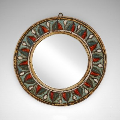 Ceramic Mirror by Roland Zobel for Les Cyclades, 1960s