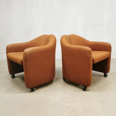 Midcentury Italian design PS 142 easy chairs by Eugenio Gerli for Tecno, 1970s