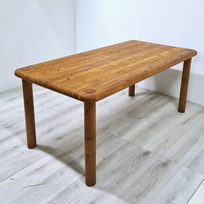 Scandinavian design solid pine dining table, Sweden 1970s