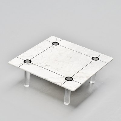 Coffee table in marble & perspex, Italy 1970