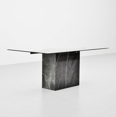 Artedi dining table in black marble, Italy 1970