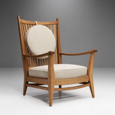 Bas van Pelt Oak & Bouclé Lounge Chair, The Netherlands 1940s