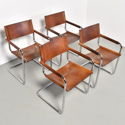 Set of 4 S34 dining chairs by Mart Stam for Fasem, 1980s