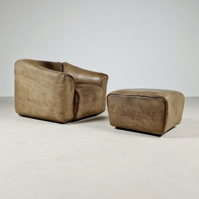 De Sede DS 47 lounge chair with ottoman, 1970s