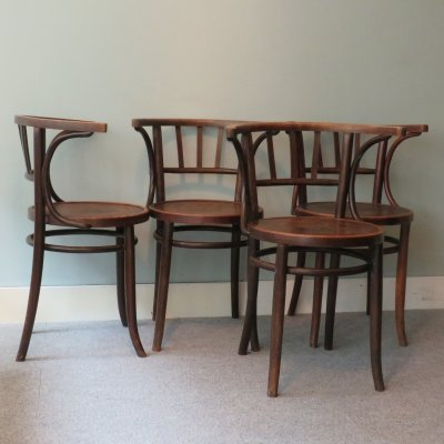 Set of 4 bent wood chairs, 1930
