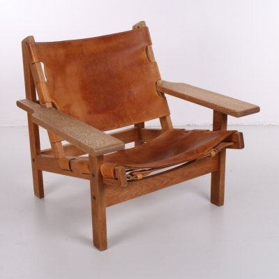 Mid-Century Leather & Oak Safari Chair by Kurt Ostervig for KP Mobler, 1960s