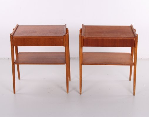 Pair of Teak bedside tables AB Carlstrom & Co, Sweden 1960s