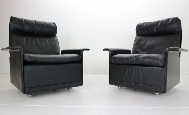 Dieter Rams set of 2 Black Leather Lounge Chairs Model-620 for Vitsœ, 1970s