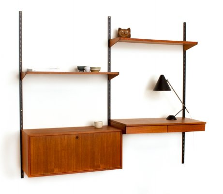Vintage teak modular wall unit with desk by Kai Kristiansen for FM Møbler, 1960s
