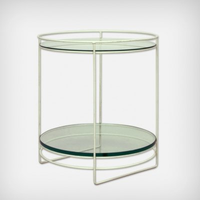 German White Steel Rod & Glass Side Table, 1960s