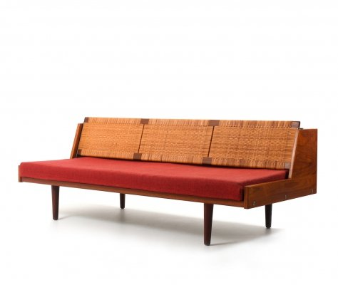 Daybed GE-258 in Teak & Wicker Cane by Hans J. Wegner, 1950s