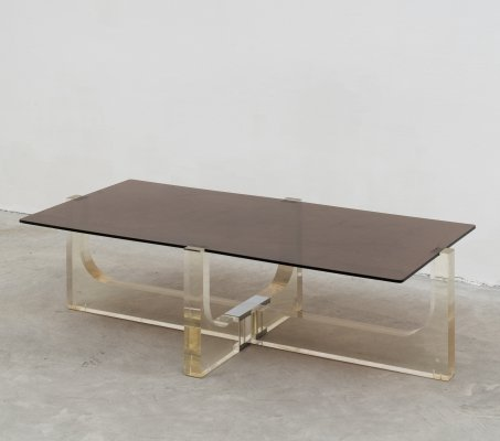 French lucite & chrome coffee table, 1970s