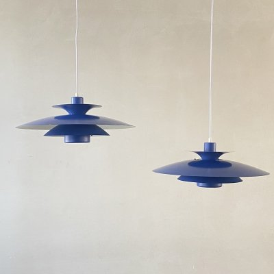 Set of 2 blue 'Donau' hanging lamps by Jeka Metaltryk Denmark, 1970s