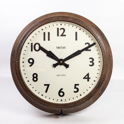 18' Weathered Smiths Sectric Clock, 1950s