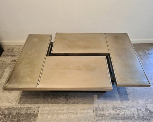 Brass hidden bar coffee table by Willy Rizzo, 1970s