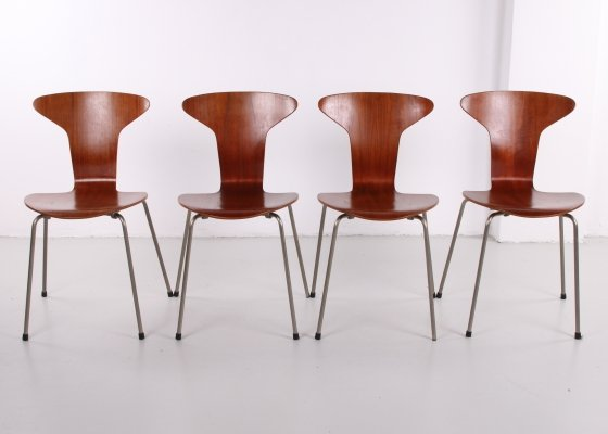 Set of 4 teak Mosquito 3105 chairs by Arne Jacobsen for Fritz Hansen, 1950s