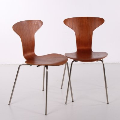 Pair of Vintage Arne Jacobsen Mosquito 3105 chairs by Fritz Hansen, 1950s