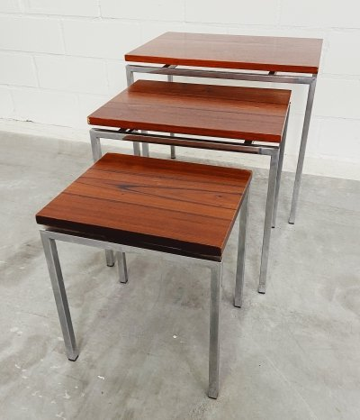 Nesting Tables With Palissander Wood & Chrome Frame