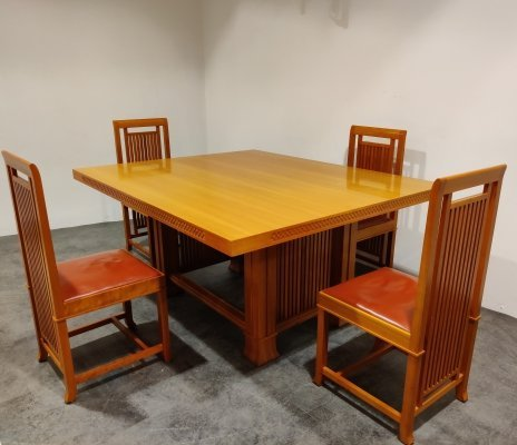 Dining set by Frank Lloyd Wright for Cassina, 1992