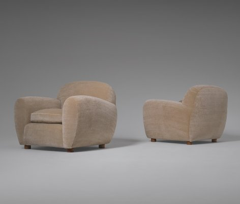 Pair of Curved Lounge Chairs in Oak & Mohair, 1950's
