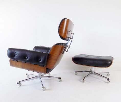 Martin Stoll leather armchair with ottoman, 1960s
