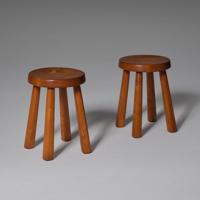 Pair of Pine stools for the Les Arcs Ski Resort